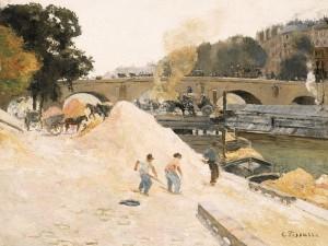 "Camille Pissarro, ""Au bord de la Seine a_ Paris"""