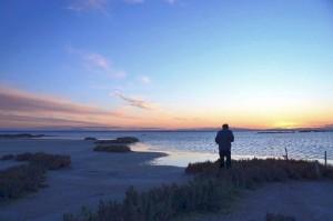 Sonnenuntergang auf den Meerwassersalinen